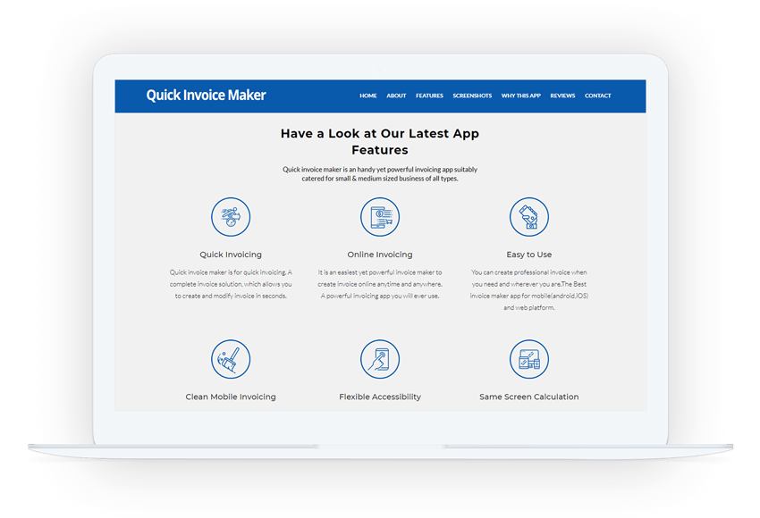 Invoice Maker Application Landing Page - Invoice quick app